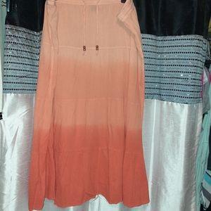 Orange ombre peasant boho maxi skirt